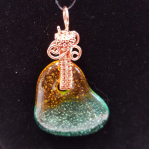 WW186 Wire Wrapped Fused Glass - Trinkets & Things Handmade with Aloha