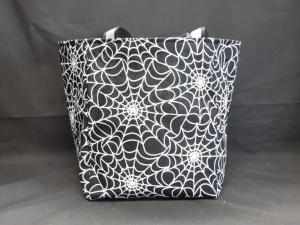 QT021 Quilted Tote Spider Webs - Trinkets & Things Handmade with Aloha