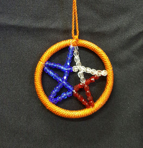 Texas Star with orange frame - Trinkets & Things Handmade with Aloha