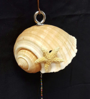 CH031 Large shell with star fish chime - Trinkets & Things Handmade with Aloha
