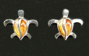 Koa Honu Post Earrings - Trinkets & Things Handmade with Aloha