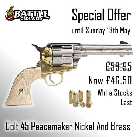 Colt 45 Peacemaker Replica - Nickel And Brass