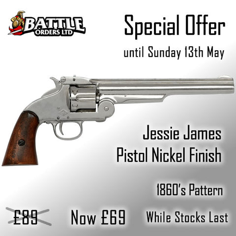 Jessie James Pistol Nickel Finish 1860's Replica