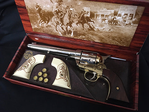 COLT 45 - CAVALRY NICKEL AND BRASS FINISH WITH SPARE BULLS HEAD GRIPS