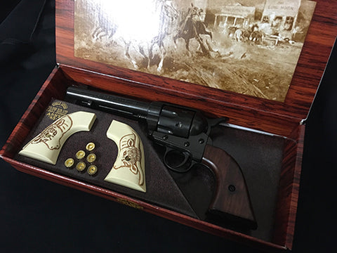 Western Frontier Model Pistol Black With Spare Bulls Head Grips