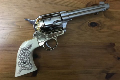 Western Frontier Model Replica, Nickel & Brass Finish with Snake Grips