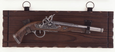 Italian Flintlock Pistol on display plaque