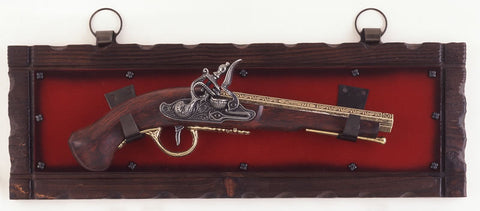 French Flintlock Pistol Replica on Display Plaque
