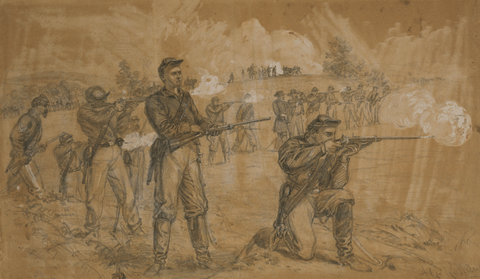 Men of the 1st Maine Cavalry with Sharps Carbines during the battle of Middleburg