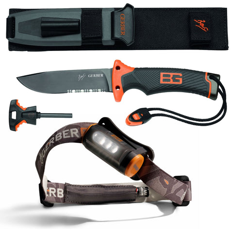 Gerber Bear Grylls Survival Ultimate Serrated Knife & Hands Free Torch