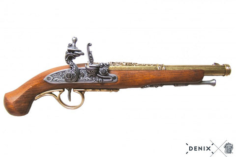 Colonial Replica 18TH Century Engraved Flintlock Pistol - Brass