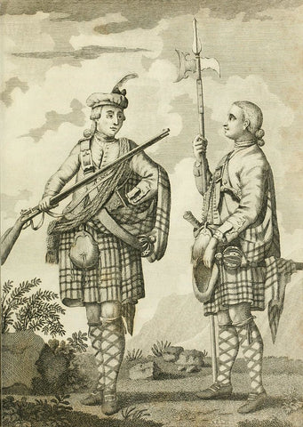 Soldiers of the Black Watch armed with a Brown Bess musket  and a halberd, c. 1790.