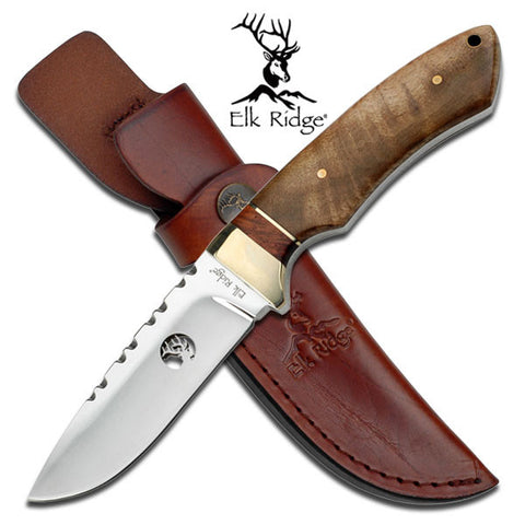 "Elk Ridge Fixed Blade Knife 8.5"" Overall - ER-304WD"