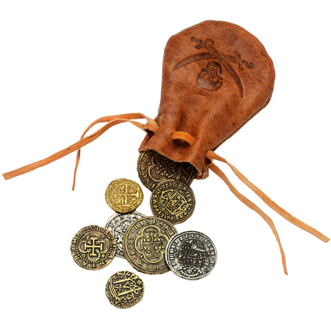 Leather Bag With 8 Coins - G715