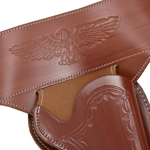 Western Brown Leather Holster with Badges + Bullets
