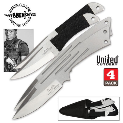 Hibben Legacy Four Piece Throwing Knife Set With Sheath - GH5046