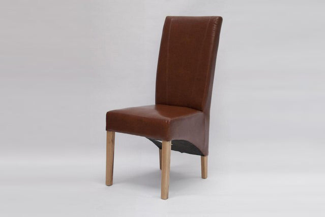 9. Leather Dining Chairs On Oak Frame And Legs