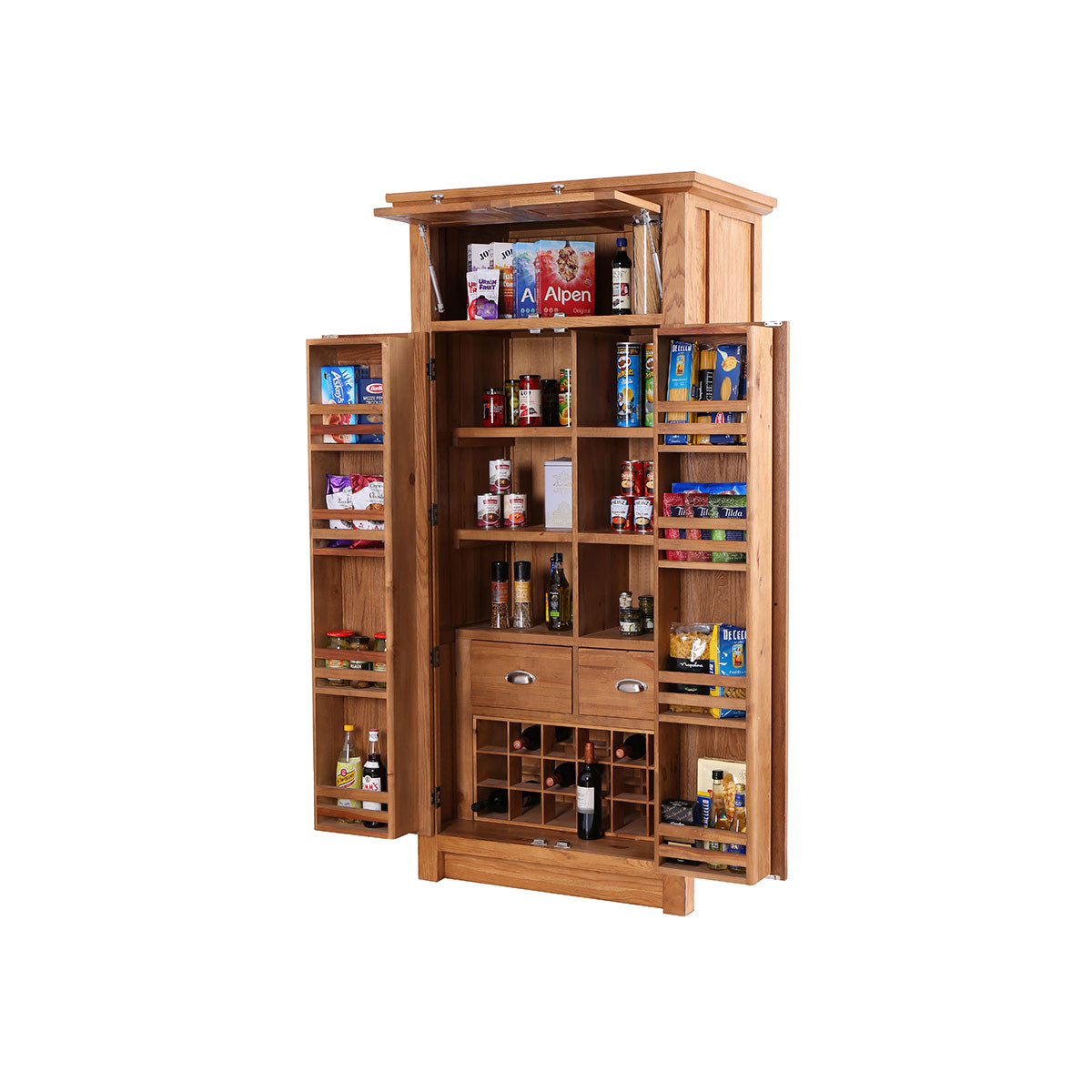 Larder with Wine Rack & 4 Doors