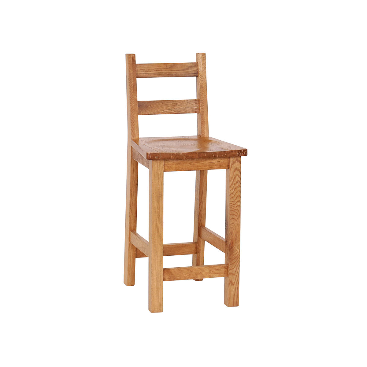 Pack of 2 - Oak Bar Stool with Timber Seat