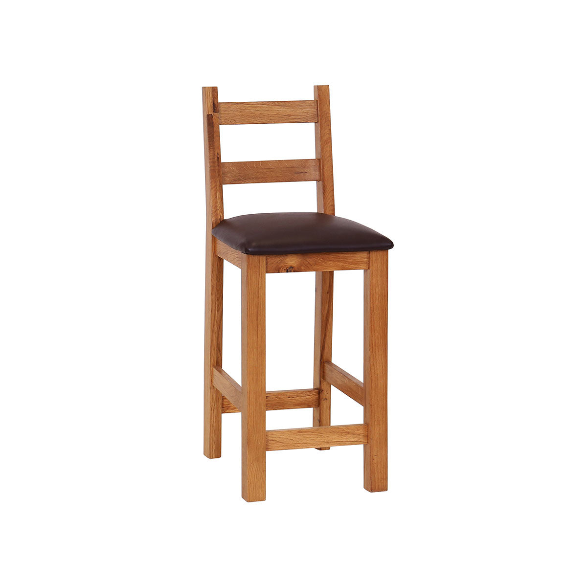 Pack of 2 - Oak Bar Stool with PU Seat