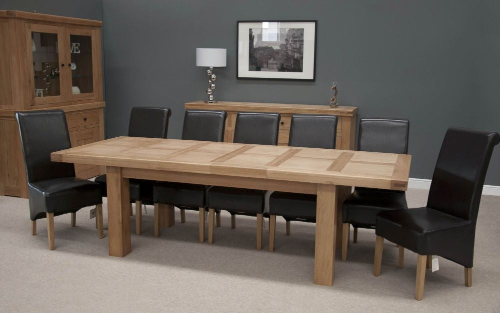 Oak Twin Panel Dining Set - 180cm-260cm Large Rectangular Extending with 8 Richmond Black Chairs