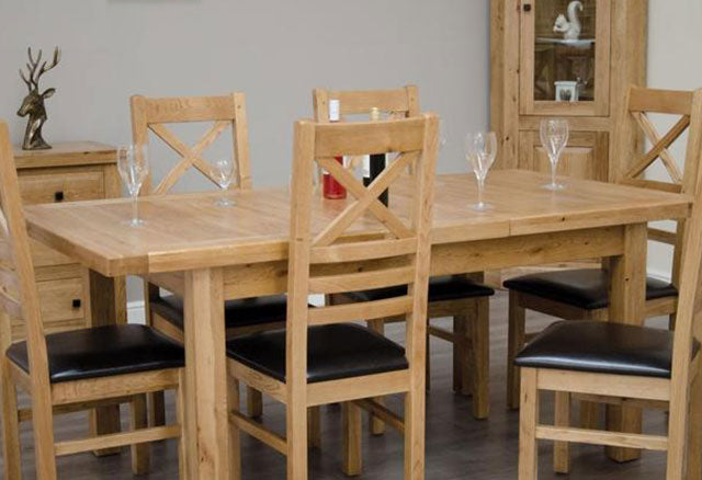 Deluxe Oak Dining Set - 150cm-230cm Rectangular Extending with 6 Chairs
