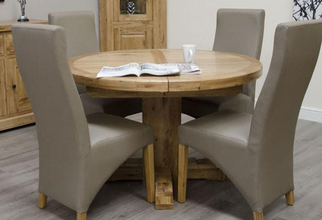 Deluxe Oak Dining Set - 167cm-247cm Oval Super Extending with 4 Wave Bonded Mushroom Chairs