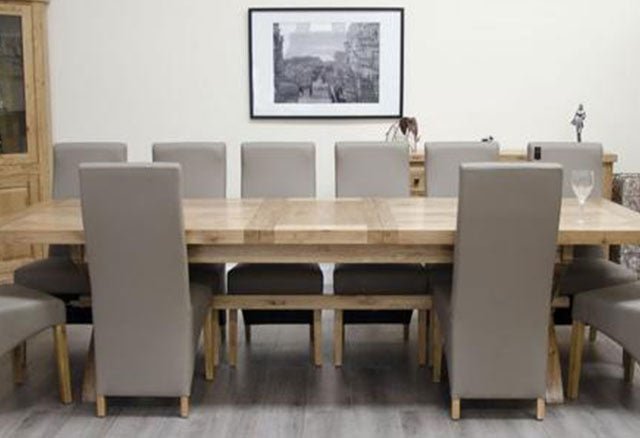 Deluxe Oak Dining Set - 200cm-280cm Cross Leg Super Extending with 10 Wave Bonded Mushroom Chairs