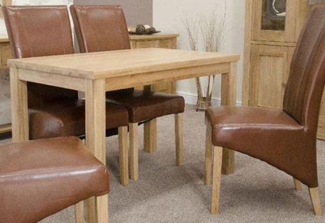 Elegance Oak Dining Set - Medium with 4 Contempo Tan Chairs