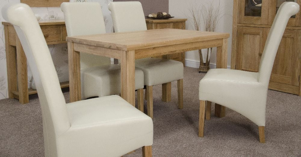 Elegance Oak Dining Set - Medium with 4 Richmond Ivory Chairs