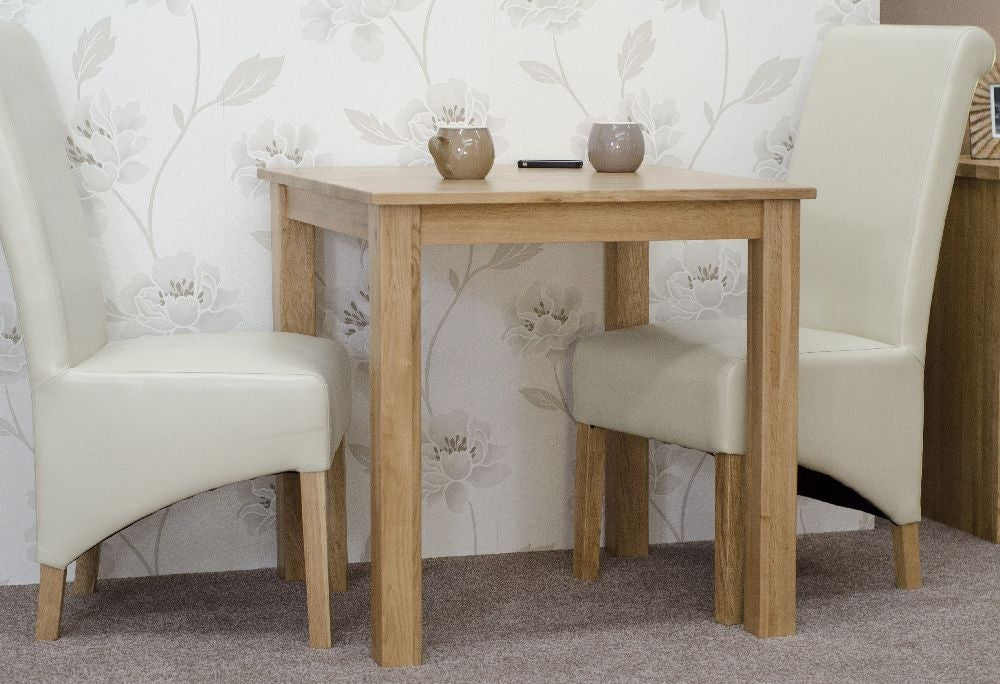 Elegance Oak Dining Set - Square with 2 Richmond Ivory Chairs