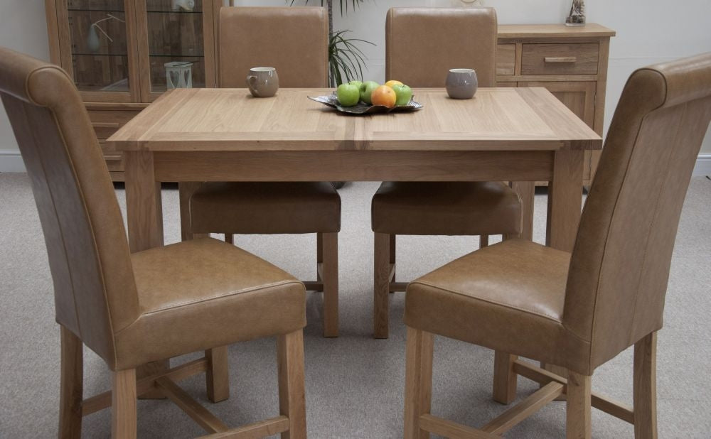 Milano Oak Dining Set - Extending with 4 Louisa Tan Dining Chairs