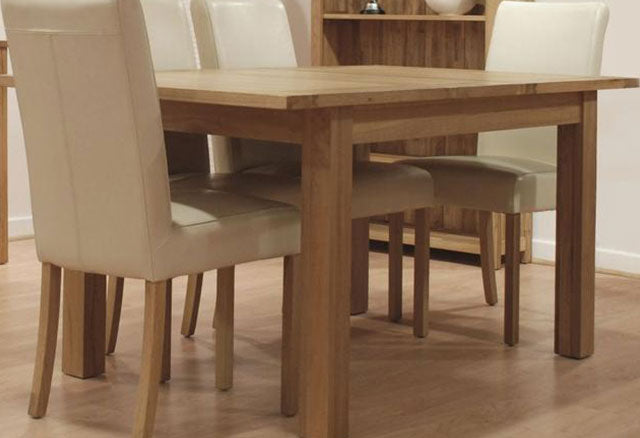 Milano Oak Dining Set - Extending with 4 Marianna Cream Leather Dining Chairs