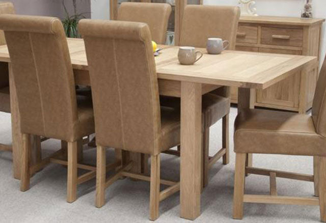 Milano Oak Dining Set - Extending with 6 Louisa Tan Dining Chairs