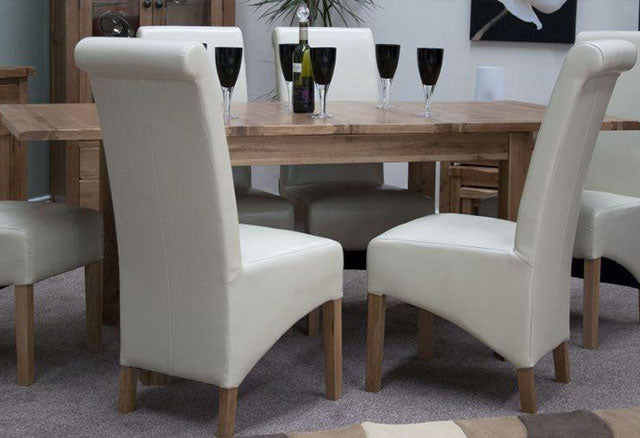 Rustic Oak Dining Set - Extending with 6 Richmond Ivory Chairs