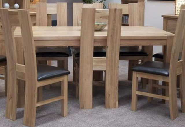 Trend Oak Dining Set - Large with 8 High Bycast Leather Chairs