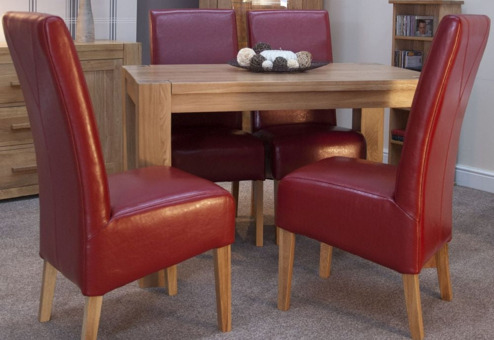 Admirable Trend Oak Dining Set Small With 4 Oslo Red Leather Chairs Machost Co Dining Chair Design Ideas Machostcouk