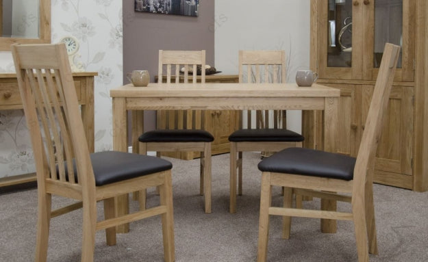 Elegance Oak Dining Set - Medium with 4 Sophia Chairs