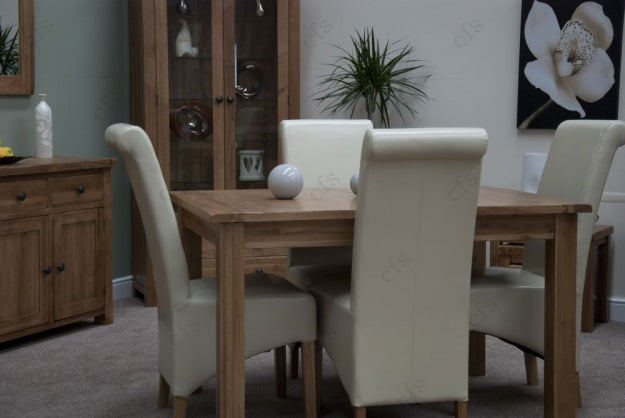 Rustic Oak Dining Set - Extending with 4 Richmond Ivory Chairs