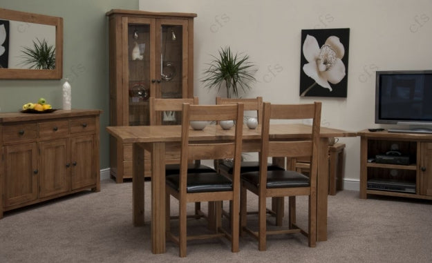 Rustic Oak Dining Set - Extending with 4 Rustic Leather Seat Chairs