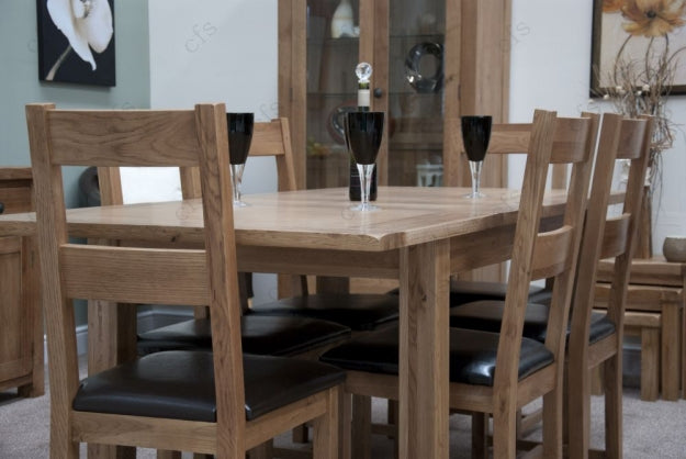 Rustic Oak Dining Set - Extending with 6 Rustic Leather Seat Chairs