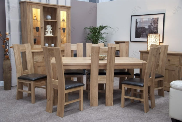 Trend Oak Dining Set - Large with 6 High Bycast Leather Chairs