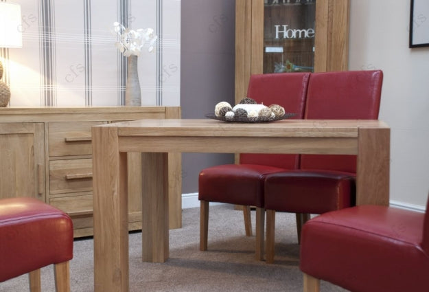Trend Oak Dining Set - Small with 4 Oslo Red Leather Chairs