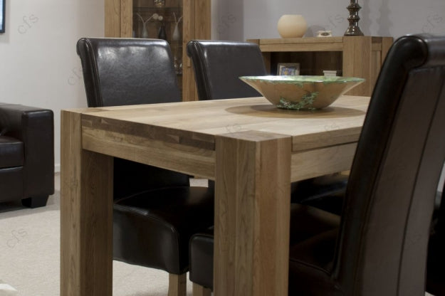 Trend Oak Dining Set Small With 4 Richmond Brown Leather Chairs