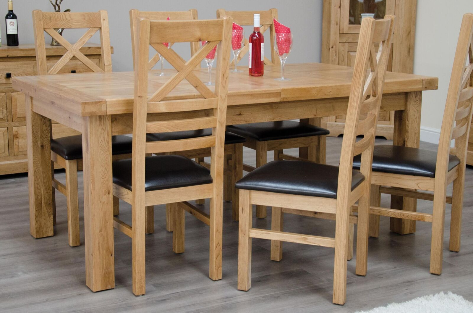 Deluxe Oak Dining Set - 180cm-260cm Rectangular Extending with 6 Chairs