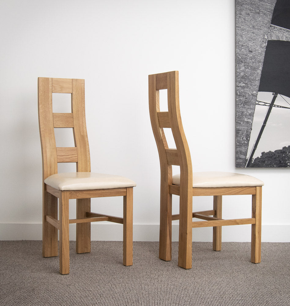 Balero Oak Dining Chair With Leather Seat