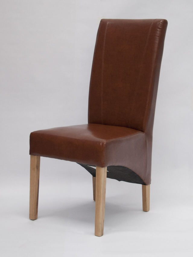 Leather Chair Wave Back Brown