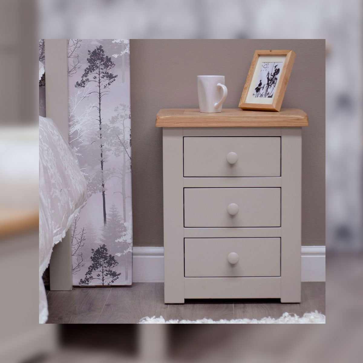 CINZA GREY 3 DRAWER BEDSIDE CHEST
