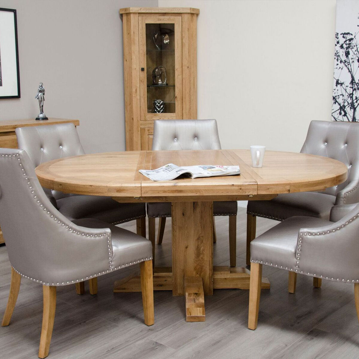 Elegance Oak Round Extending Table 1250mm Diameter / 1250mm x 1800mm Extended