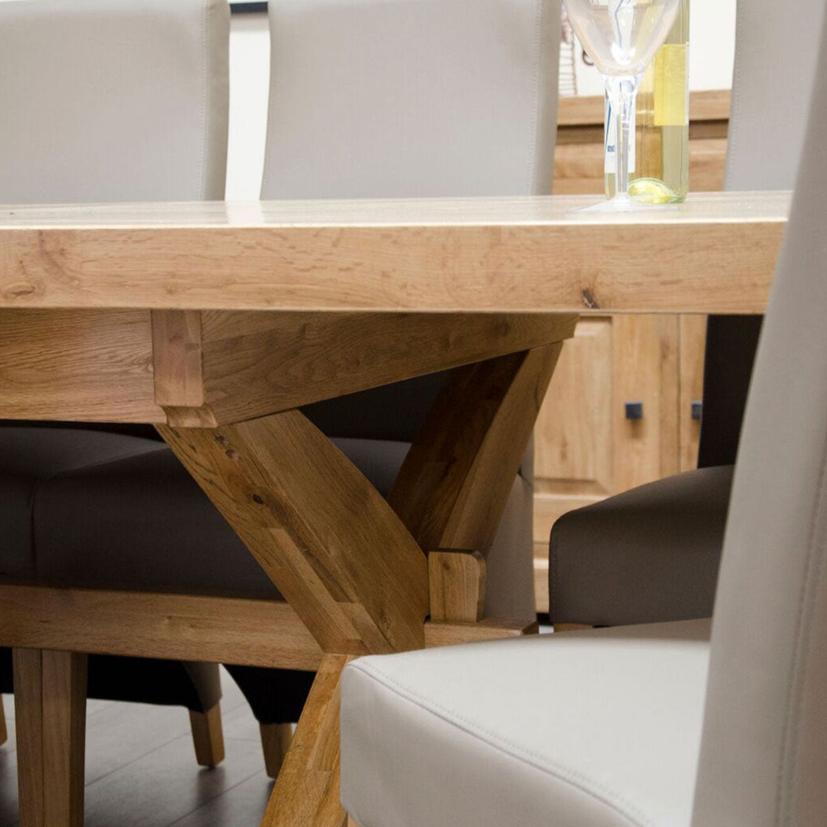 Elegance Oak Super X Leg Extending Table 2400mm+(2 x 500mm)